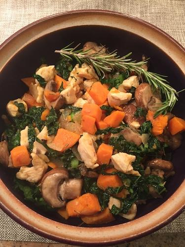 Chicken sweet potato stir-fry.