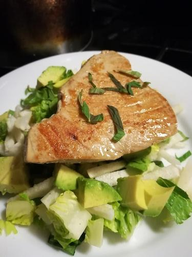Seared Tuna with Pickled Jicama, Avocado and Romaine Salad