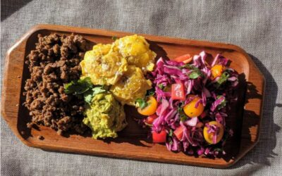 Taco Inspired Cabbage Salad with Tostones