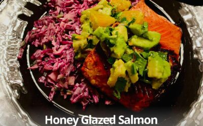Honey Glazed Salmon with Citrus Avocado Salsa and Slaw