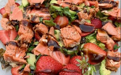 Grilled Salmon with Avocado, Strawberry and Basil Salad Recipe